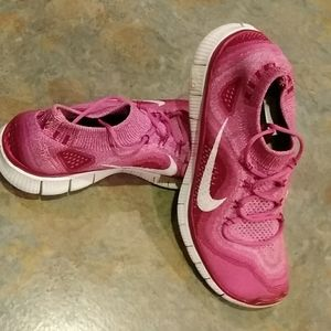 Nike Free shoes pink and white
